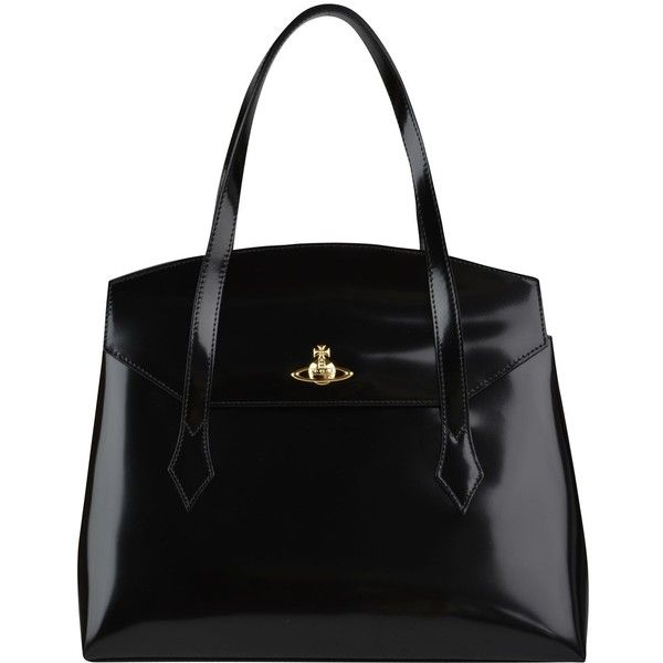Vivienne Westwood Monaco Leather Tote (5,420 MXN) ❤ liked on Polyvore featuring bags, handbags, tote bags, purses, totes, bolsas, black, studded tote bag, leather tote bags and black tote