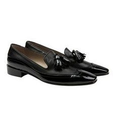 Mornay Black with black patent gentleman's style pointed loafers