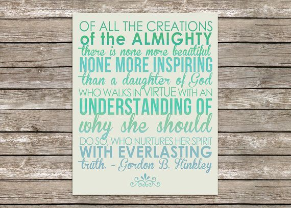 8x10 LDS Gordon B Hinkley Quote for Young by PolkadotPrintCompany, $12.49