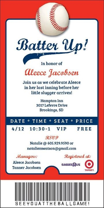 Baseball Ticket Invite For Baby Shower! Https://www.facebook.com  Free Printable Ticket Style Invitations