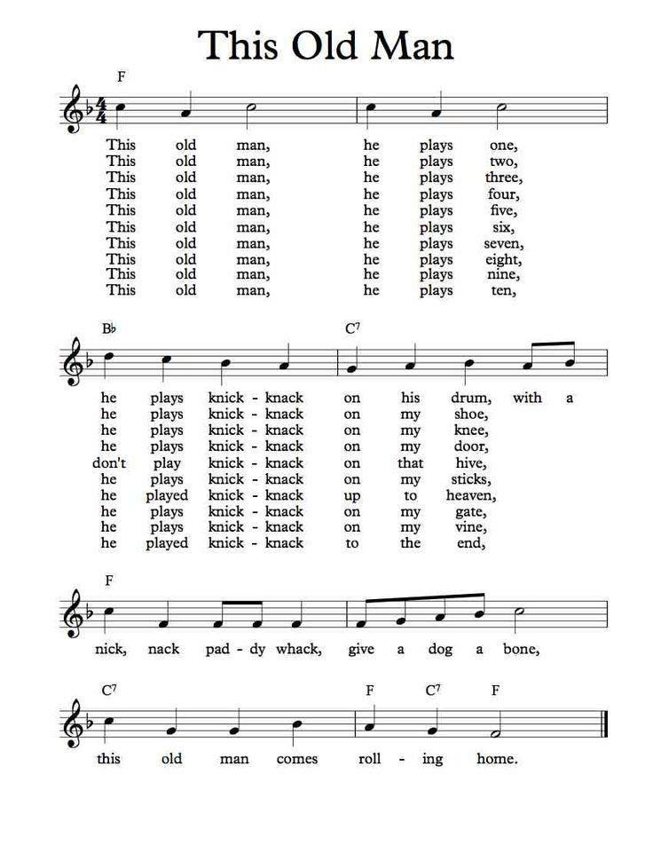 Free Sheet Music - Free Lead Sheet - This Old Man