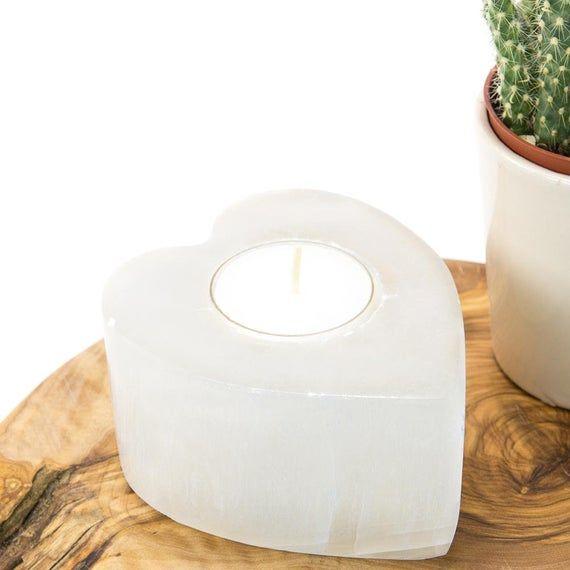 Selenite Crystal Candle Holder | Selenite Heart Crystal Candle Holder | Tea Light Candle Holder | Te