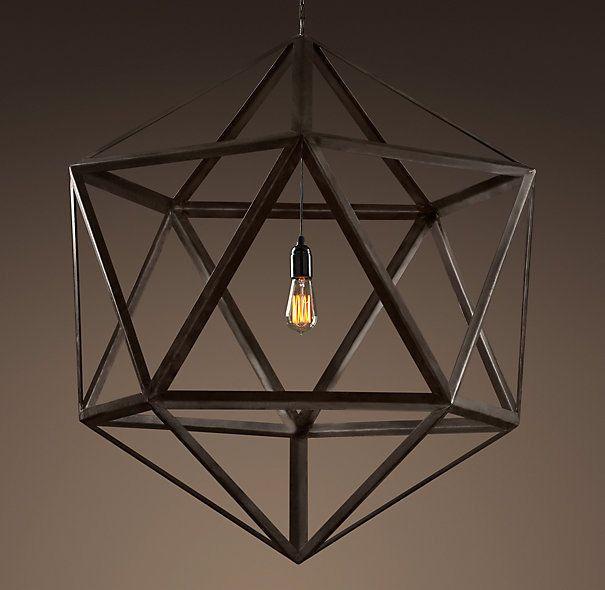Restoration Hardware Steel Polyhedron Pendant Light