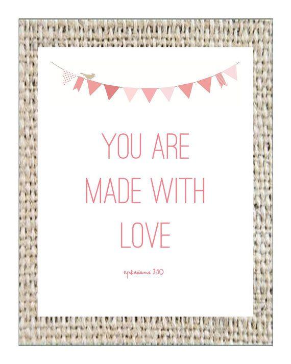 Scripture Art, Nursery Art, Bible Verse Printable, Scripture Printable, Made with Love Digital Printable