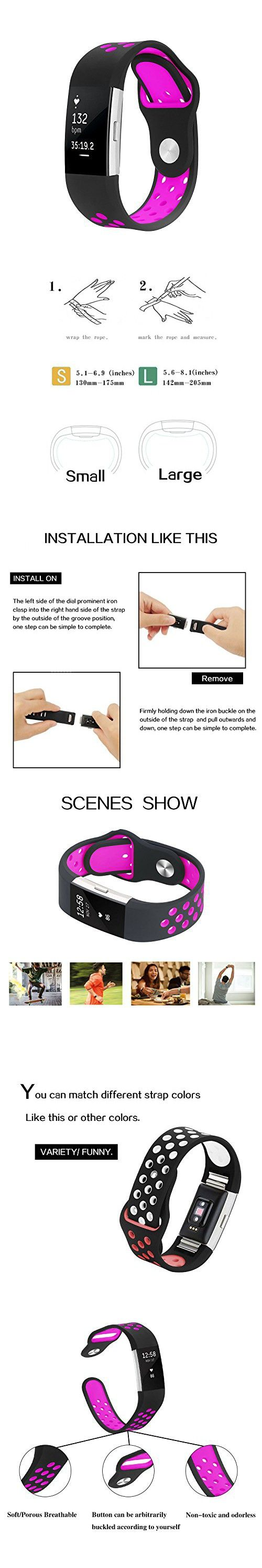 Bepack Band for Fitbit Charge 2, Silica gel Soft Silicone Adjustable Replacement Wristband for Fitbit Charge 2 Smartwatch Heart Rate Fitness Wristband