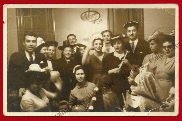 ## 23338 Greece 1950s? Men, women & children [carnival]. Photo PC size.