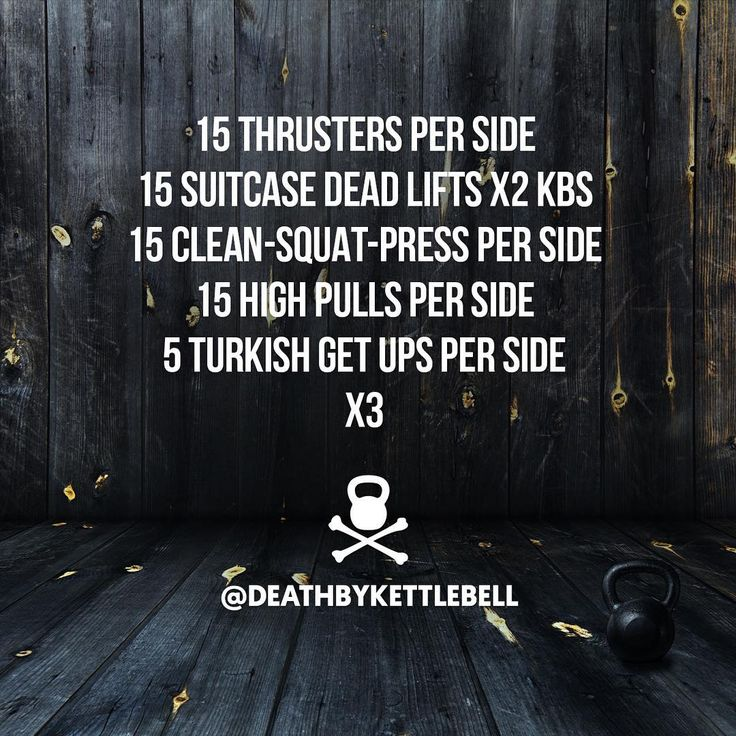 """""""⚫ Here's a challenging kettlebell set to work your whole body:  15 Thrusters per side 15 Suitcase dead lifts x2 KBs 15 Clean-squat-press per side 15 High…"""""""