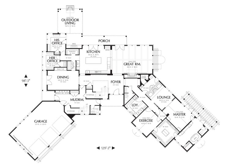 Main Floor Plan of Mascord Plan 2465 - The Letterham - Luxury Lodge wth Open Floor Plan and Ample Amenities