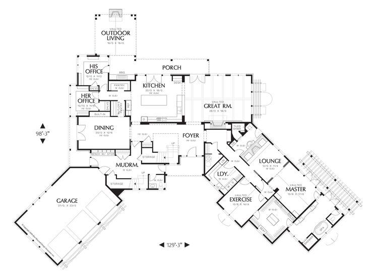 Main Floor Plan of Mascord Plan 2465 - The Letterham - Luxury Lodge wth Open Floor Plan and Ample Amenities