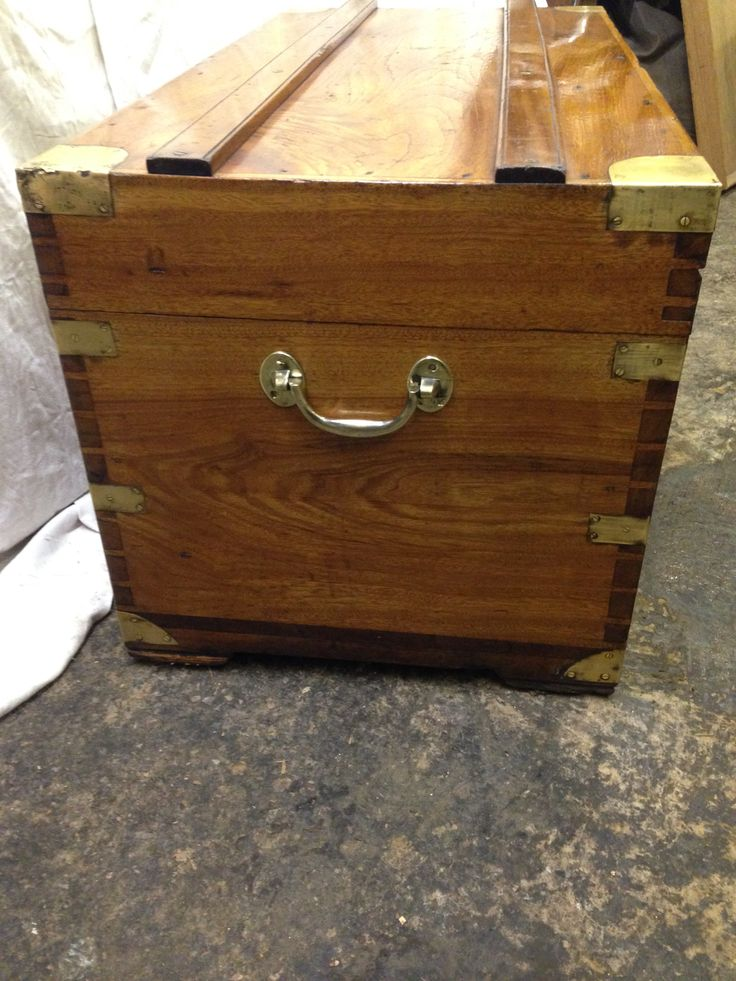 Antique 19th century military camphor trunk with brass carrying handles and brass corners