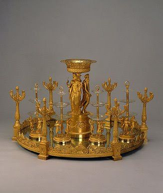 Round Mirror Centerpiece with six candelabra around the edge Before 1822 Workshop of Pierre-Phillipe Thomire Paris, France