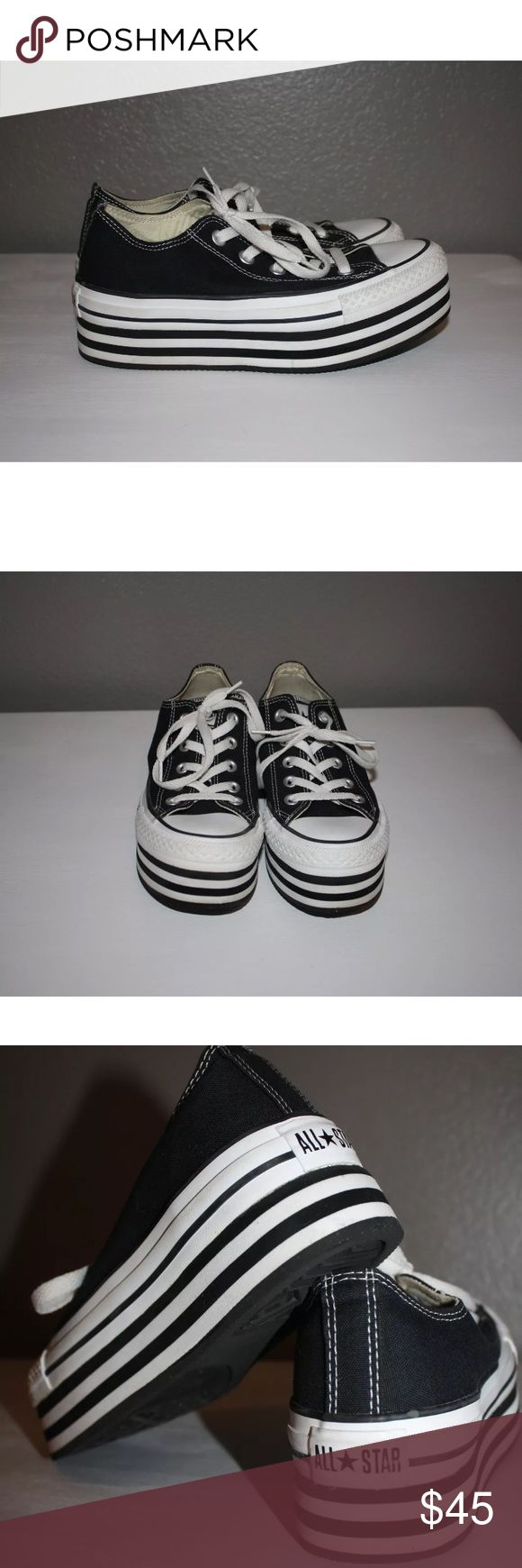 Platform Converse 6 Women's black platform converse size 6. Some minor scuffs at the heels as shown in the pictures. Converse Shoes Platforms