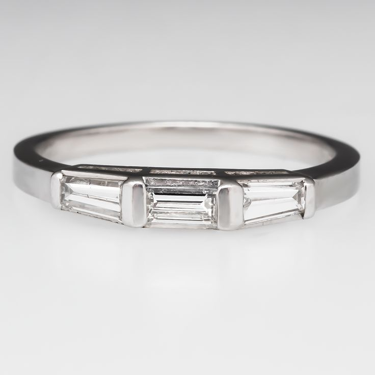 Vintage Tapered Baguette Diamond Wedding Band Ring Platinum