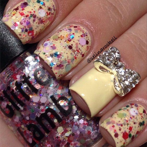 Cotton Candy Glitter Nails