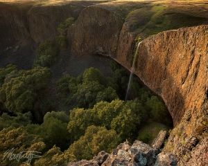 Phantom Falls waterfall photograph on North Table Mountain near Chico California at sunset, by Matt Tilghman by mattt513