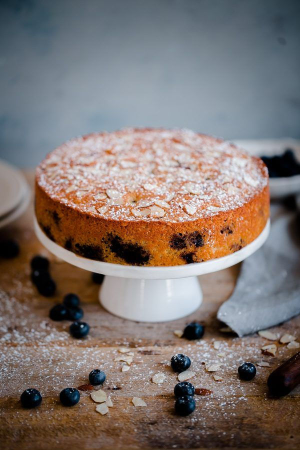 Blueberry Almond Tea Cake. A simple almond cake recipe studded with fresh blueberries and sliced almonds! @abeautifulplate