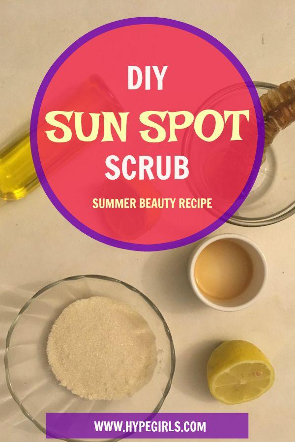 DIY Sun Spot Scrub | Beauty | DIY | Sun Spots | Removal | Scrub | Sugar | Lemon | Raw Honey | Carrier Oil | Apple Cider Vinegar | Natural | Homemade | Summer Skin | Skincare  | HypeGirls | Recipes | Remedies | Remedy | Crunchy Mama