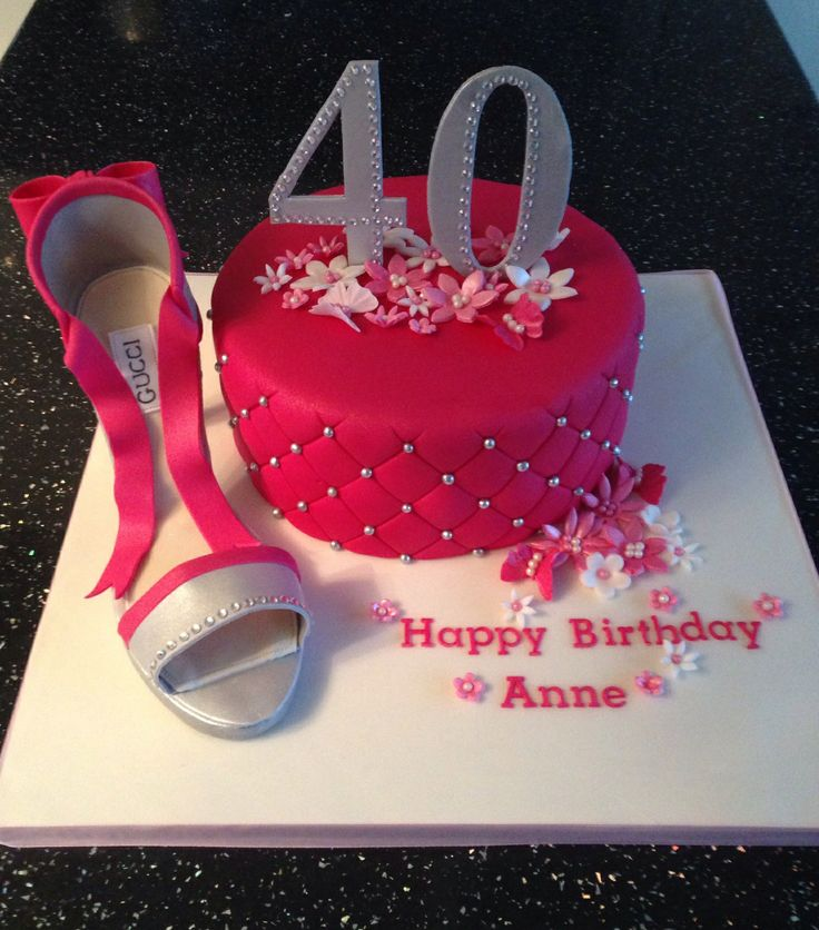 40th Birthday Cake With Fondant Shoe Parties 40th