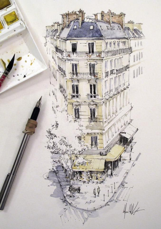 """Ink and watercolour wash. """"Café across the street"""". Paris is most likely one of the most inspiring cities in Europe. However, it is also one of the most artistic destinations, beyond the Louvre. Explore 5 Paris Museums You Didn't Know Existed at TheCultureTrip.com"""