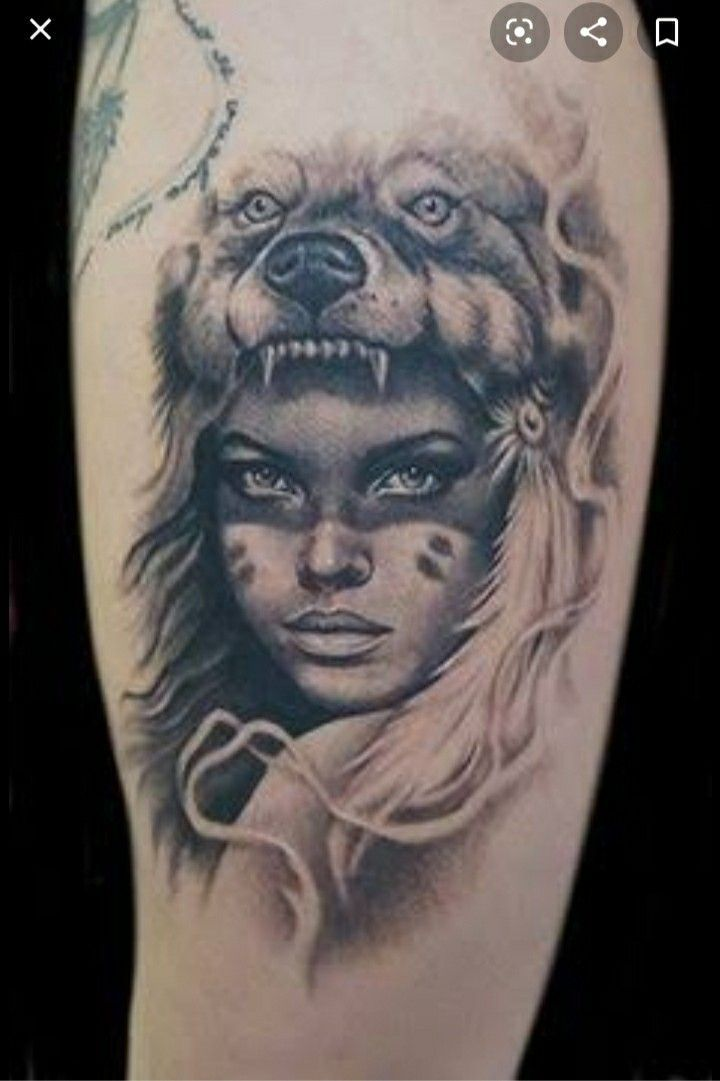 India Urso Indiaurso Inspirationaltattoosindian In 2020 Headdress Tattoo Wolf Girl Tattoos Indian Girl Tattoos