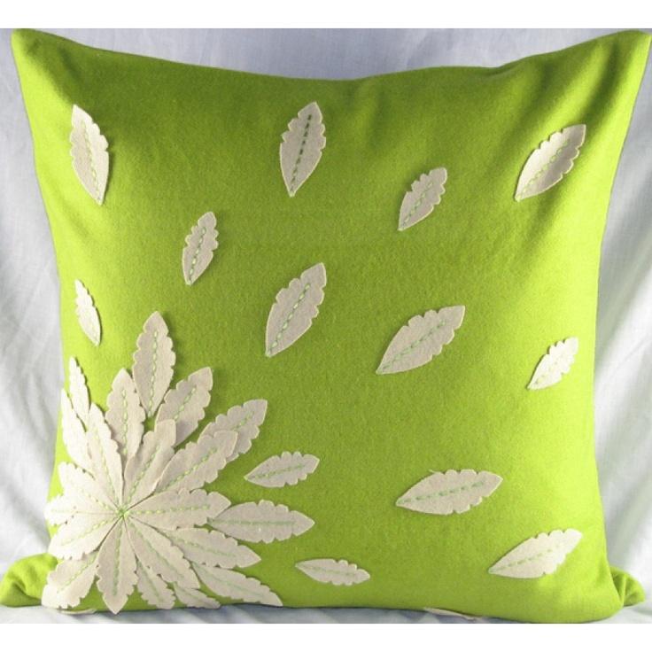 Design Accents Felt Applique Flower Pillow in Green - SL 28884-Green