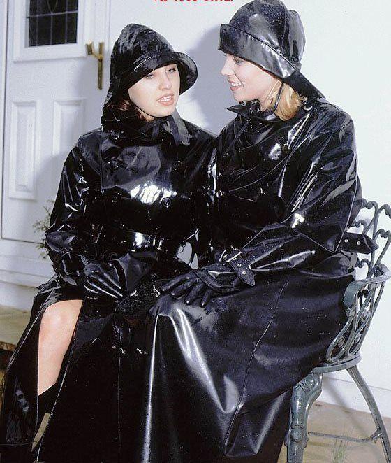 Black Rubber Raincoat Stunners