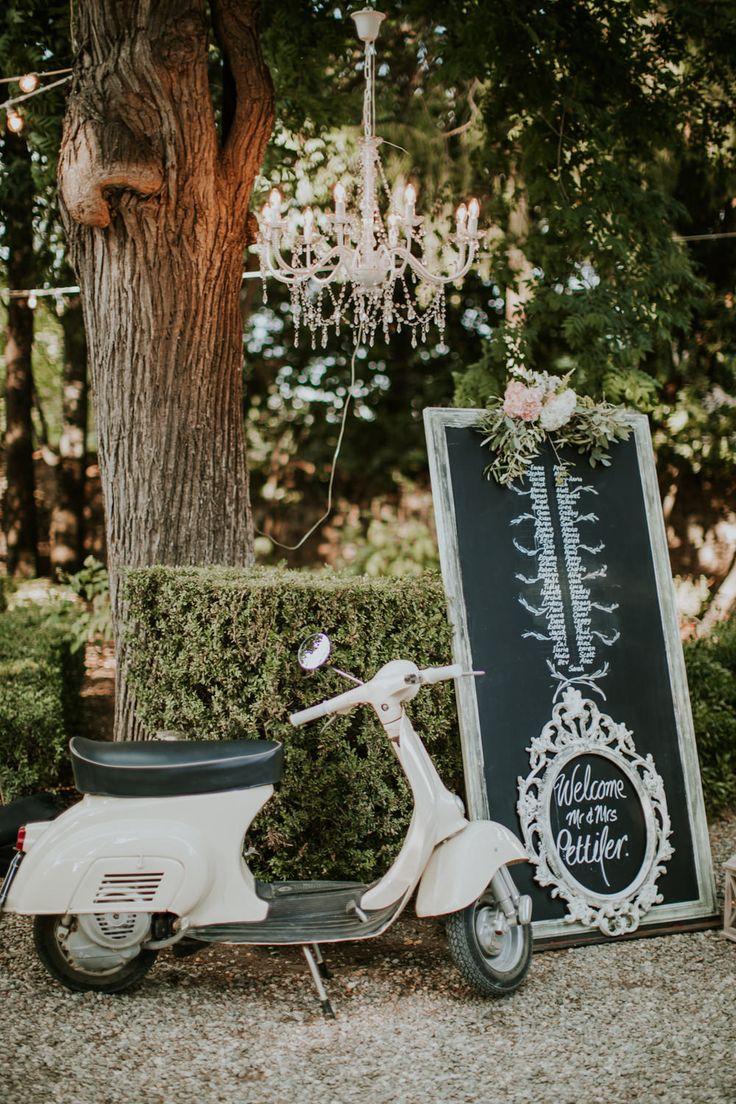 Vespa   Chalkboard Wedding Signs   Chandelier   Wedding Decor   Tuscan Wedding Planned by Romeo & Juliet Weddings   D&A Photography   Ben Walton Films