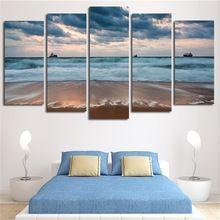 2017 Modułowa Obrazy Na Ścianie Sztuki Malowania Ścian Morze Plaża Krajobraz Plakat na Płótnie Home Decoration Bez Ramki 5 samoloty(China (Mainland))