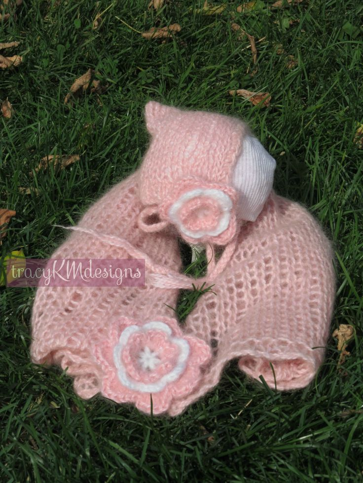 Mohair wrap and bonnet, with two different sized, removable flowers.