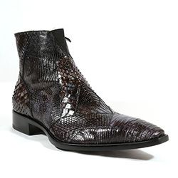 Jo Ghost Italian Mens Shoes Piton Roccia Tejus Black Python / Lizard Boots (JG2004)