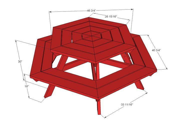 Hexagon Picnic Table | Picnic table plans, Octagon picnic ...