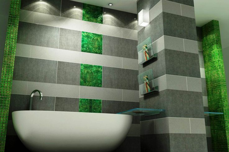 Mooie combinatie met groengekleurde natuursteen in Wave Living Laqué, tegels en mozaieken.
