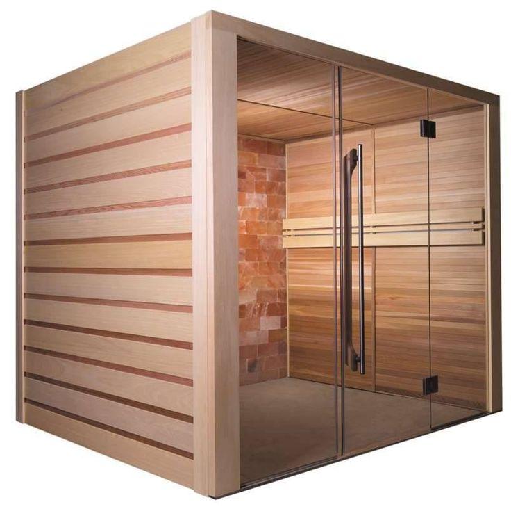 Sauna finlandese tradizionale a vapore XXL Holl's Alto Sel con muro di sale e 2 Chaise Longue 210 x 190 cm