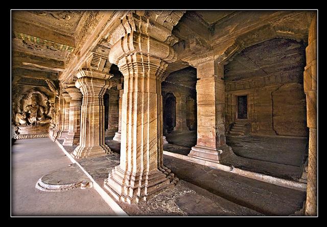 Dravidian: Badami: Chalukya columns and capitals (Buddhist; rock-cut) - Karnataka, India.