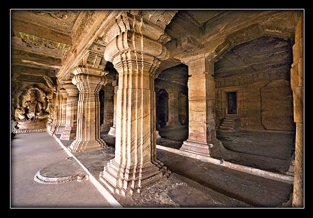 Dravidian: Badami: Chalukya columns and capitals (Buddhist; rock-cut) - Karnataka, India.