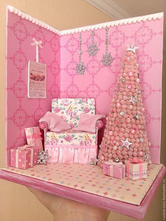 """Miniature room box / Кукольный дом ручной работы. Ярмарка Мастеров - ручная работа. Купить Румбокс """"Shabby New Year"""". Handmade. Миниатюра"""