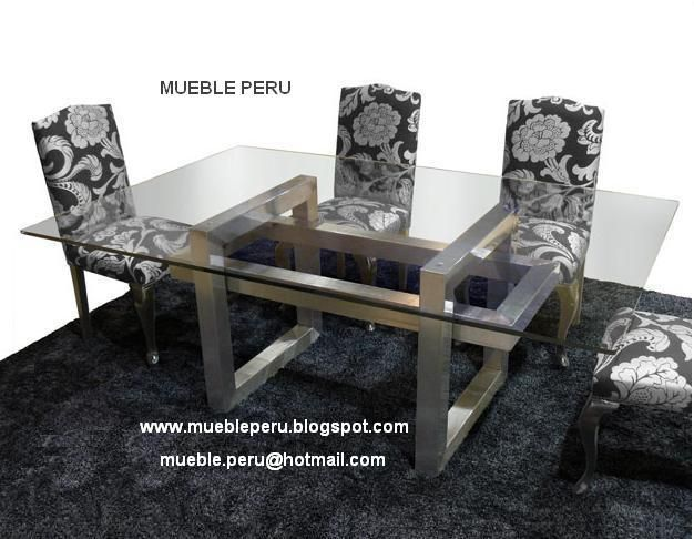 Hermoso comedor diana con moderna mesa de acero y for Sillas de comedor elegantes