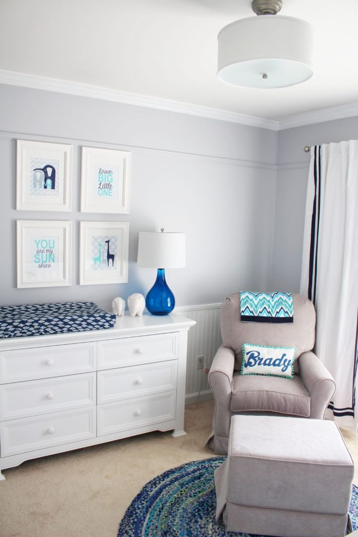 Baby Boy Nursery with Elephant Decor