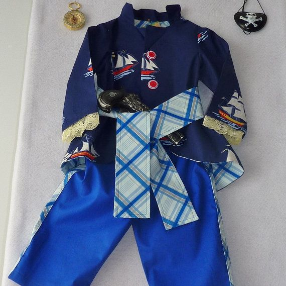Baby Pirate Costume Jacket Long Pants and Sash Size by TwinsFromOz, $85.00