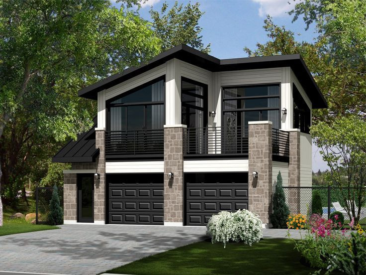 40 best modern garage plans images on pinterest modern for Two car garage with apartment on top