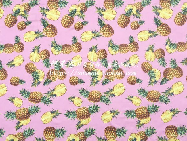 SS 2017 NEW Collection Pretty Elastic slub dimity fabric Pineapple printed pink fabric for clothing DIY