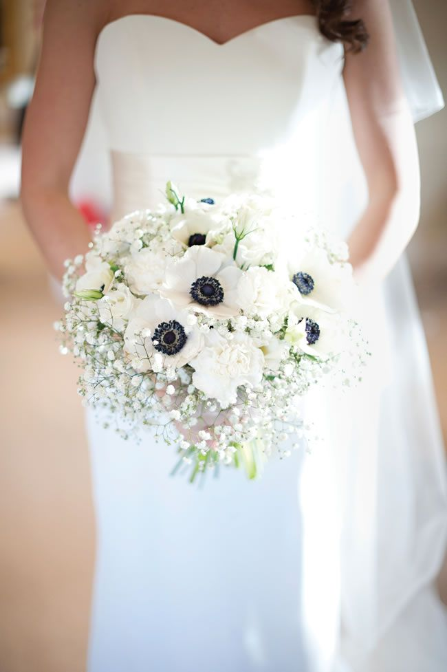 White anemone and gypsophila bouquet • Alex and Charlotte's elegant navy and white winter wedding • Wedding Ideas: