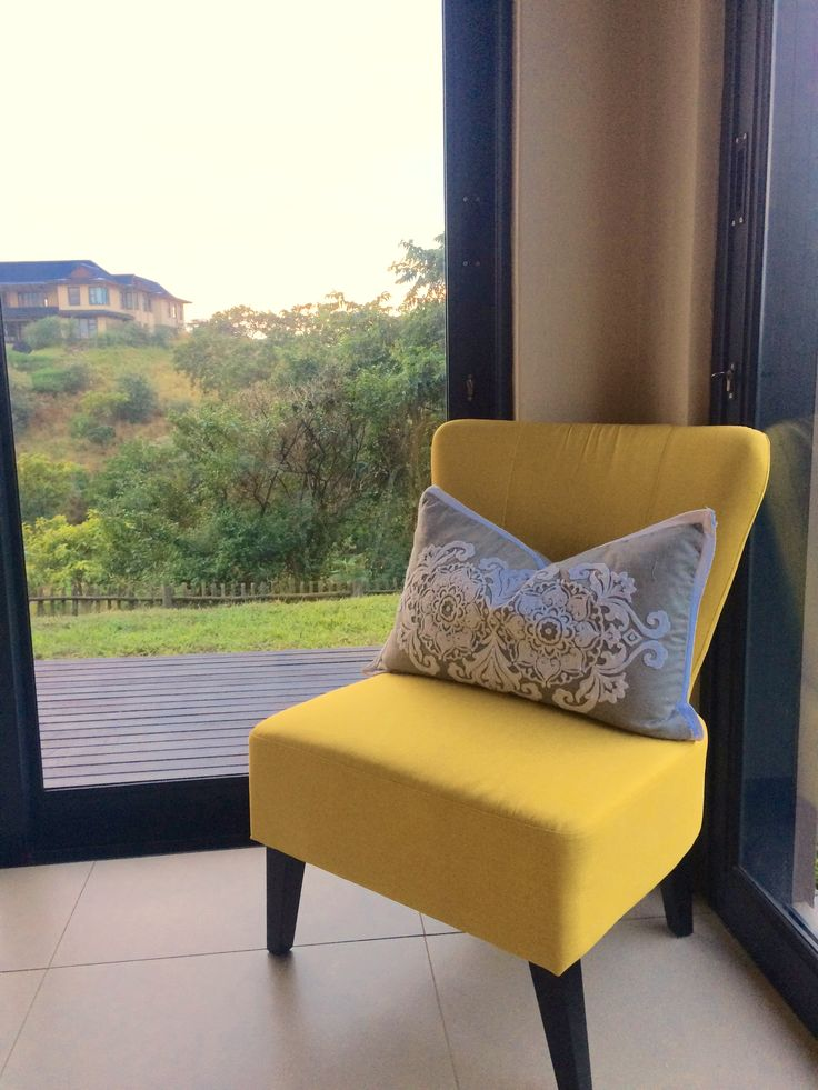 yellow chair in morning sunlight