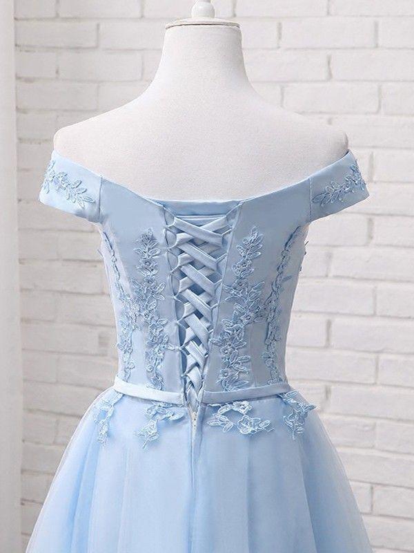 a956994e3ad Light Blue Drawstring Lace Off Shoulder Fluffy Puffy Tutu Homecoming  Bridesmaid Party Midi Dress - Midi Dresses - Dresses