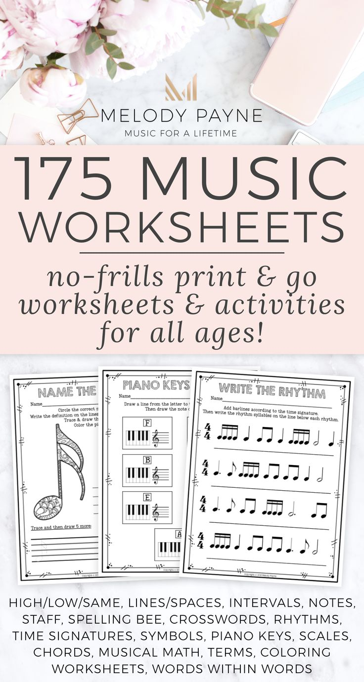 175 printable no-frills music worksheets for elementary, middle, high school, & college - I use them as supplementary pages for non-majors in beginning piano class all the time! Perfect for piano lessons too. Comprehensive set of music activities that can be used for homework, review, assessments, even the sub tub! Higher, lower, same, lines & spaces, notes on the staff, crossword puzzles, rhythms, time signatures, music symbols, piano keys, scales, chords, music math, music vocabulary.
