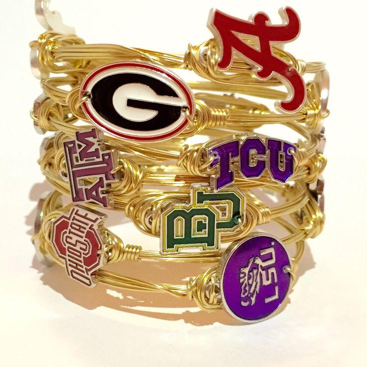 College Game Day Wire Wrapped Bangles, Texas A&M, TCU, Baylor, LSU, Alabama, Georgia, Handmade Jewelry, Team Spirit, Courtney And Courtnie by CourtneyAndCourtnie on Etsy https://www.etsy.com/listing/247458093/college-game-day-wire-wrapped-bangles