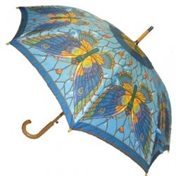 Stained Glass Butterfly Stick Umbrella