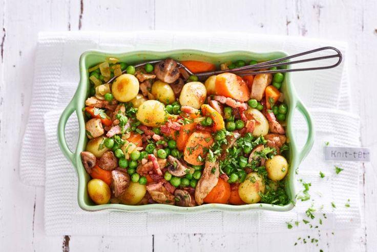Kipdijfilet met spekjes en groenten - Recept - Allerhande