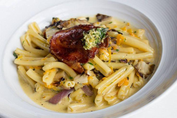 Casarecce pasta with butternut squash, sage, pancetta cream sauce & Treviso #Oakville #Restaurant #Food #Italian #Cucina