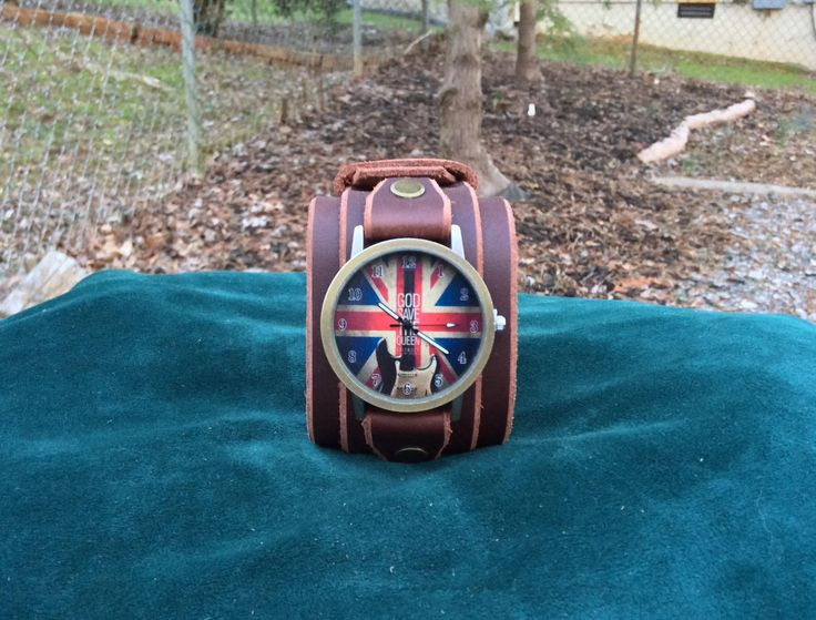 Brown Leather Cuff Watch with British Flag Face and Buckle by RockinLeather on Etsy